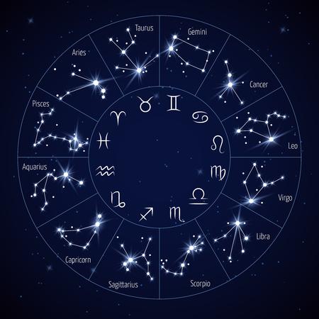 Zodiac constellation map with leo virgo scorpio libra aquarius sagittarius pisces capricorn taurus aries gemini cancer symbols vector illustration Stock Illustratie