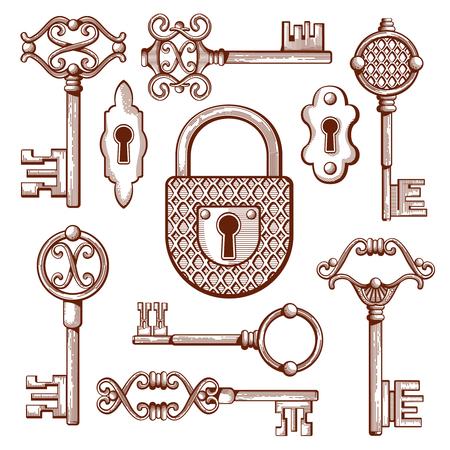 Vintage keys, locks and padlocks hand drawn. Keyhole and secrecy, various classic elements, vector illustration