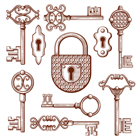 secrecy: Vintage keys, locks and padlocks hand drawn. Keyhole and secrecy, various classic elements, vector illustration