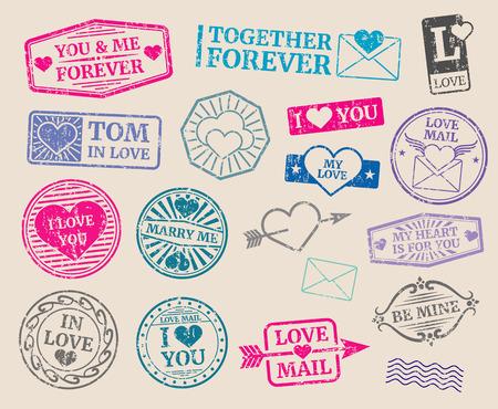 conjunto de sellos postales vector de la vendimia. Cita romántica, amor, día de San Valentín. Colección de sello con el texto case conmigo y te amo ilustración