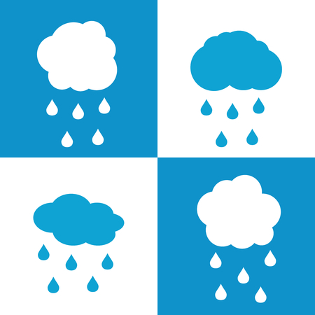 sleet: Flat cloud icons with drops on white and blue background. Rain weather with cloud, vector illustration