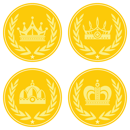yellow crown: Yellow coin icons with crown on white background. Golden coin icon, vector illustration