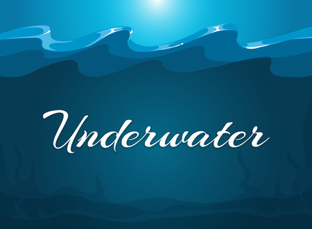 moody: Deep blue moody underwater background. Abstract background water, vector illustration