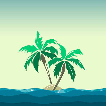 coco: Tropical island and palm trees illustration. Plant coco on background vector Illustration