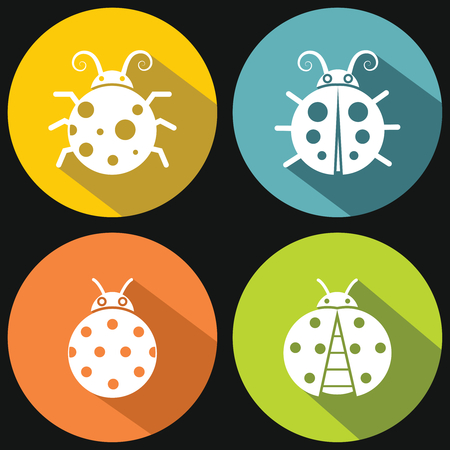 green crab: Ladybugs on yellow background with shadow. White insect in circle. Vector illustration
