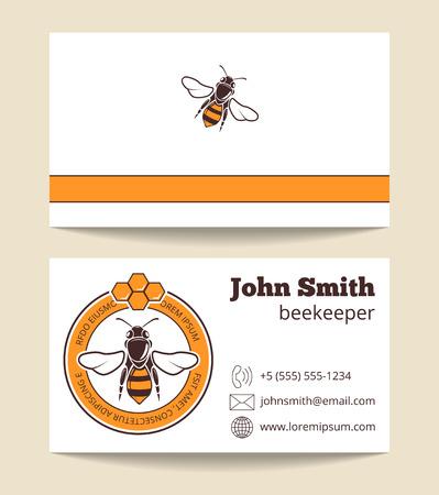 Beekeeper vector business card template. Dessert nutrition farming logo illustration Illustration