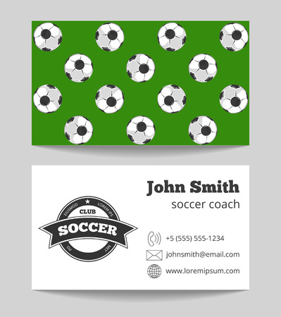 official wear: Soccer club business card both sides template in green and white colored. Vector illustration