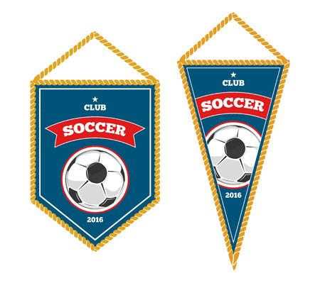 Soccer pennants isolated white. Badge for sport club. Vector illustration Illustration