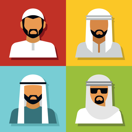 middle eastern: Middle Eastern people avatar isolated on color background. Vector illustration