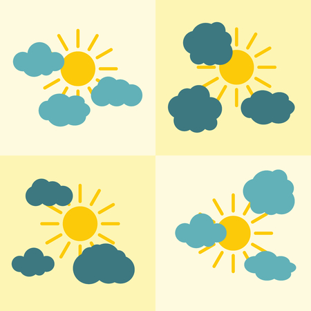 time to shine: Clouds flat icons on yellow background with sun. Weather icon with yellow sun. Vector illustration