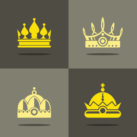yellow crown: Yellow crown icons with shadow. Royal crown for prince, vector illustration