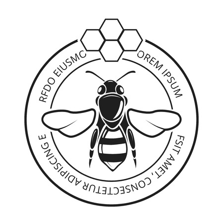 Retro honeybee, beekeeper, honey icon. Natural symbol and label with honeycomb, vector illustration