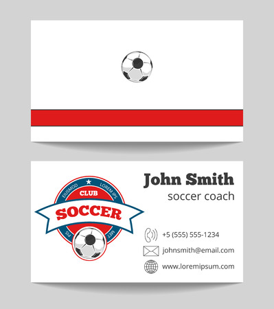 soccer coach: Soccer coach business card template with icon. Football trainer card, vector illustration