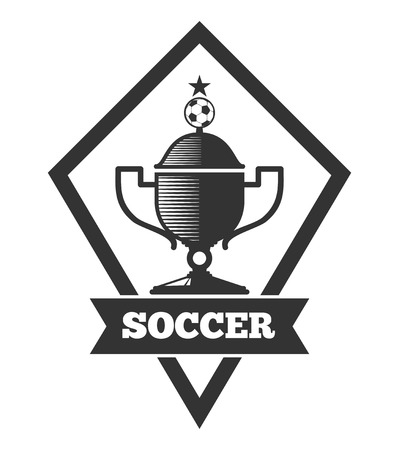 collegiate: Vector soccer icon template, emblem in black isolated over white. Football cup icon illustration Illustration