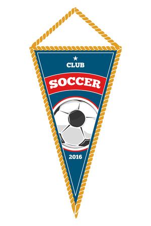 Blue soccer pennant isolated white. Object for football team. Vector illustation Illustration