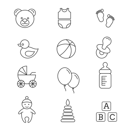 Baby toys and care vector thin line icons. Newborn and bottle of milk illustration Illustration