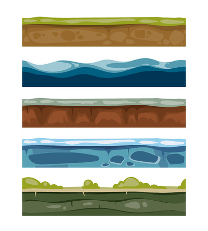 water grass: Seamless landscape elements. ground, ice, water, grass surfaces for computer games. Set of layers for graphic design illustration