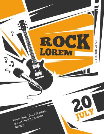 la plantilla del cartel del vector de la música en directo. concierto de rock con guitarra, ilustración de la vendimia cartel musical
