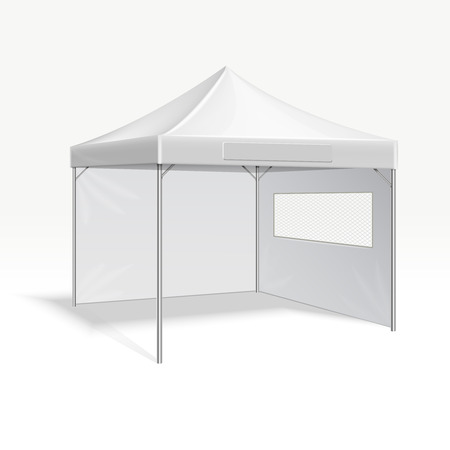 outdoor event: Promotional advertising folding tent vector illustration for outdoor event. Cover frame protection from sun and rain