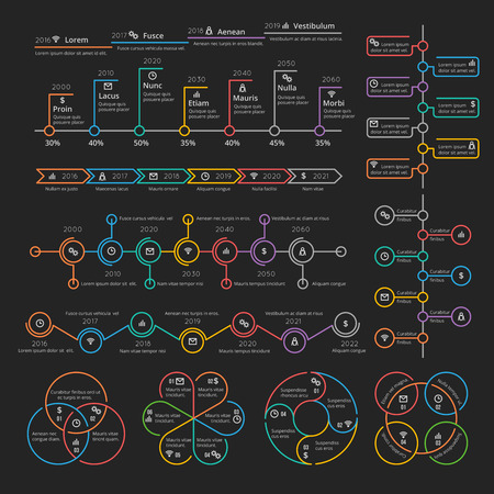 timelines: Business infographic elements collection vector timelines and charts for presentation booklet. Analytics report and diagram, color info on linear style illustration Illustration