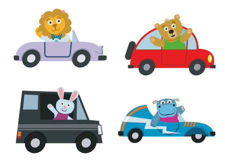 Kids cars transport with cute cartoon animals vector set. Characters lion and hippo drive automobile illustration Illustration