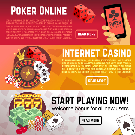 online roulette: Poker online gaming lottery internet casino vector banners set. Start playing now, roulette and dice illustration