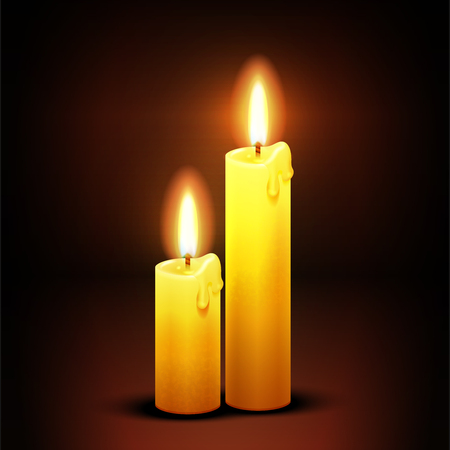candlelight: Vector christian background with burning dinner candles. Candlelight flame illustration
