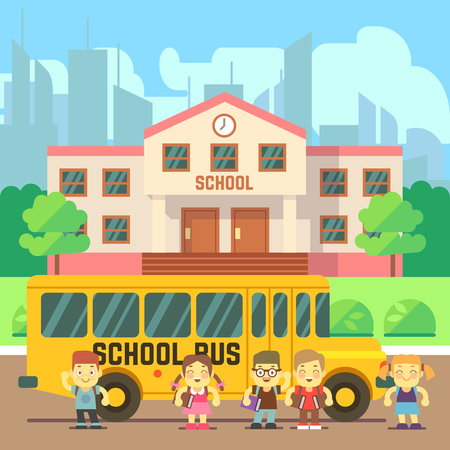 undergraduate: School building, bus and pupils. Back to school vector flat concept Illustration