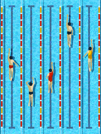 swimmer's: Top view swimming pool, aquatic race water basin with several athlete swimmers vector illustration