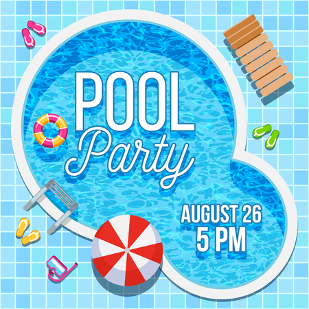 nobody: Summer pool party invitation with nobody water swimming pool vector background