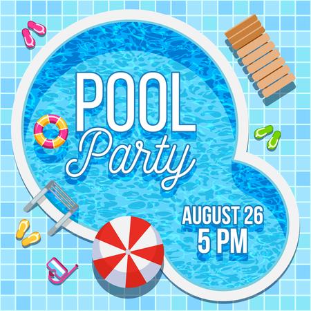Summer pool party uitnodiging met niemand water zwembad vector achtergrond