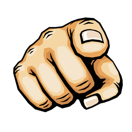 Hand pointing, finger pointing vector illustration. Human arm gesture indicate