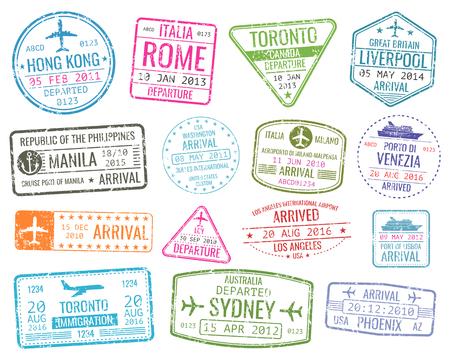 Międzynarodowe podróże biznesowe znaczki wizowe wektorowe przyloty podpisać. Zestaw odmiany gumy pieczęć miasta ilustracji