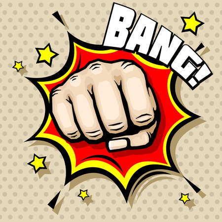 struggle: Hitting fist, bang in pop art style, struggle concept background. Power hit, protest and attack, vector illustration