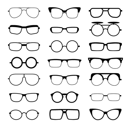 eyewear fashion: Sunglasses, eyeglasses, geek glasses different model shapes vector silhouettes icons. Fashion assortment eyewear illustration Illustration
