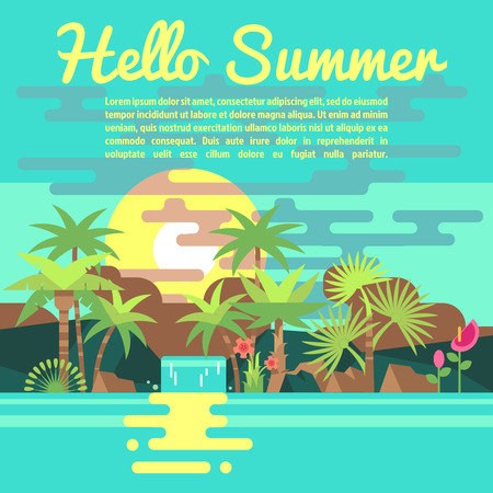 tropics: Tropics summer vacation vector background in trendy flat style. Banner for advertising of travel agency illustration