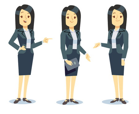 cartoon adult: Funny businesswoman cartoon character in different poses for business presentation. Professional manager young lady in formal suit. Vector illustration