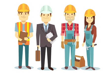 Construction workers team vector builder characters group foreman architect and investor illustration Illustration