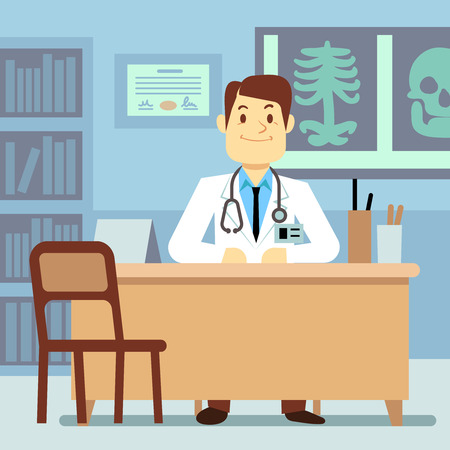 physician: Doctor sitting at the table in medical vector healthcare concept. Character professional physician on workplace illustration Illustration