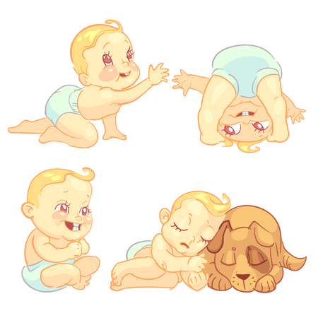 crawl: Cute baby in diaper vector character set. Happy toddler playing, crawl and sleep with dog illustration