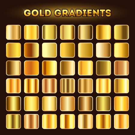 glistening: Gold gradients vector. Set of golden glistening gradient shades illustration