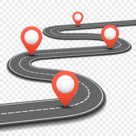 Bilväg, gata, motorvägsvägkarta infographics design. Väg- och riktplan med röda stift underteckna. Vektor illustration