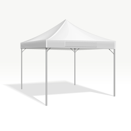overhang: Mobile marquee tent for trade show. Vector mockup protection roof form sun and rain illustration