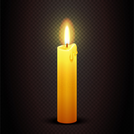 symbolic: Vector candle with flame on transparent checkered dark background, candlelight christmas and birthday card template. Christian symbolic illustration