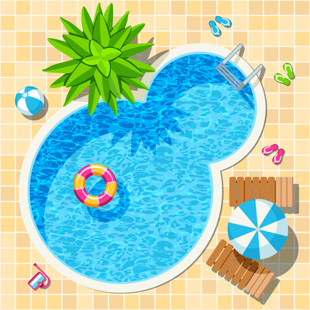 top view relax swimming pool vector summer concept Vectores