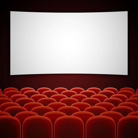 movie screen: Cinema movie hall with white blank screen. Empty interior for presentation new film. Vector illustration