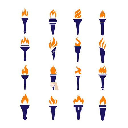 il fuoco della fiamma della torcia icone piatta vettoriali. Vettoriali