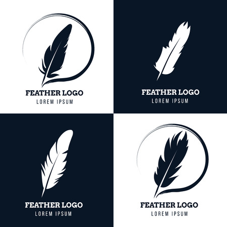 Feather, elegant pen, law firm, lawyer, writer literary vector  set. Emblem with fluffy plume silhouette illustration
