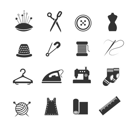 needlework: Sewing fashion needlework tailor vector icons. Tailoring and dressmaking craft illustration