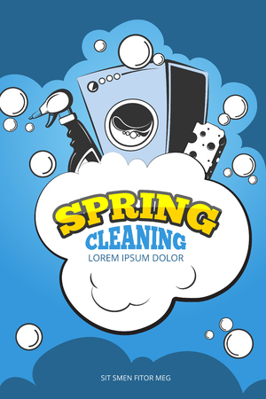 spring cleaning: Spring cleaning service vector concept background. Housework and housekeeping, washing laundry illustration
